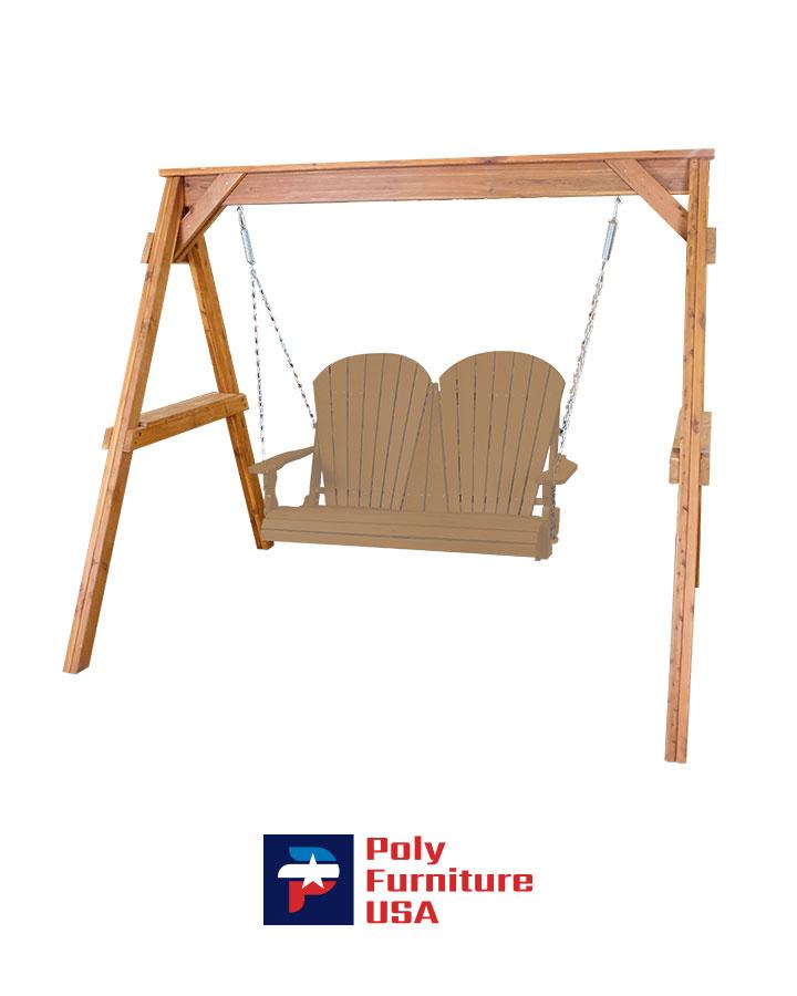 Amish Made Poly Furniture USA Adirondack 4ft Swing Cedar