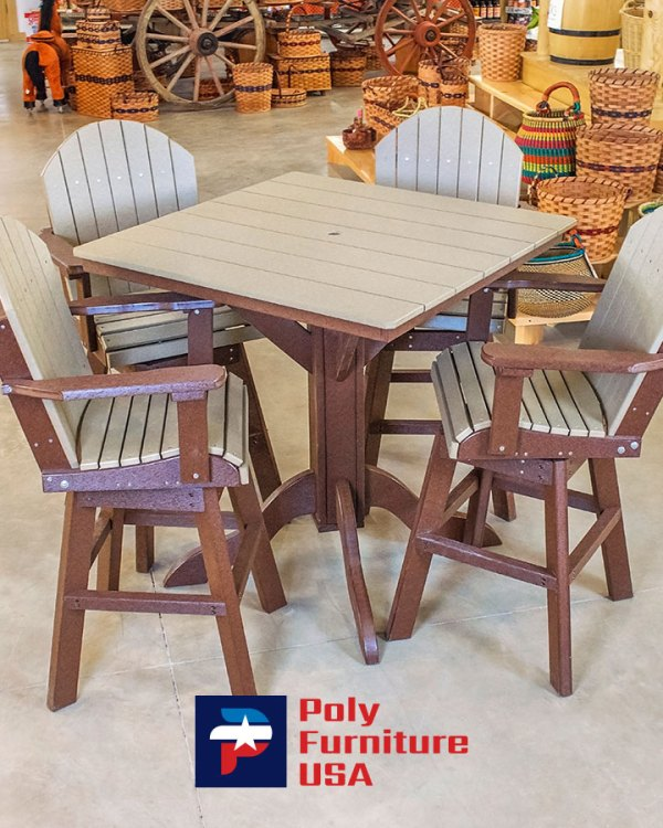 Amish Made Counter Height Table & 4 Chairs Set