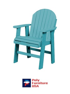 Amish Made Poly Furniture USA Dining Height Chair Aruba Blue