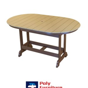 Poly Furniture USA - 6' Counter Height Oval Table, Weather Wood on Brown