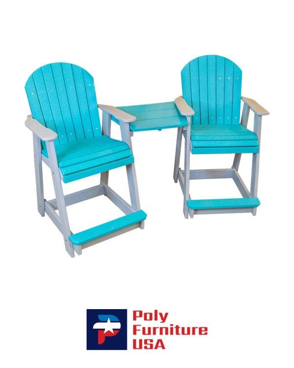 Poly Furniture USA - Counter Height Tete a Tete Chair, Aruba Blue on Light Gray