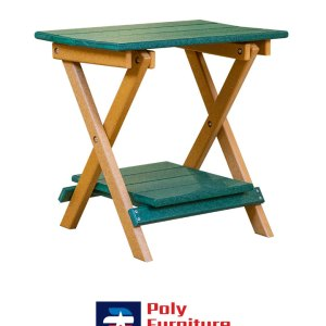 Poly Furniture USA - End Table with Shelf, Woodland Green on Cedar