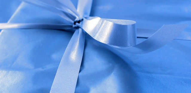 A ribbon on a gift.