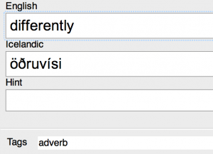 Tagging a vocab item as an adverb in Anki