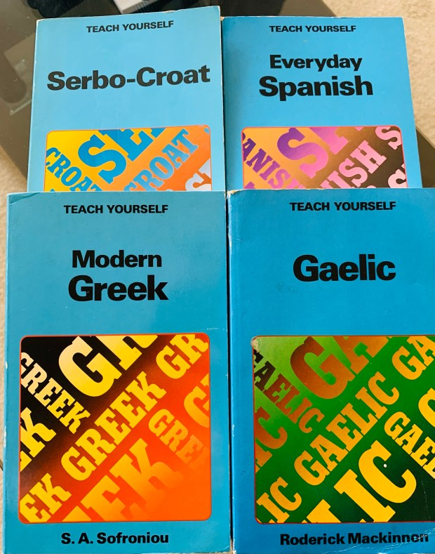 Four 1980s editions of Teach Yourself language books.