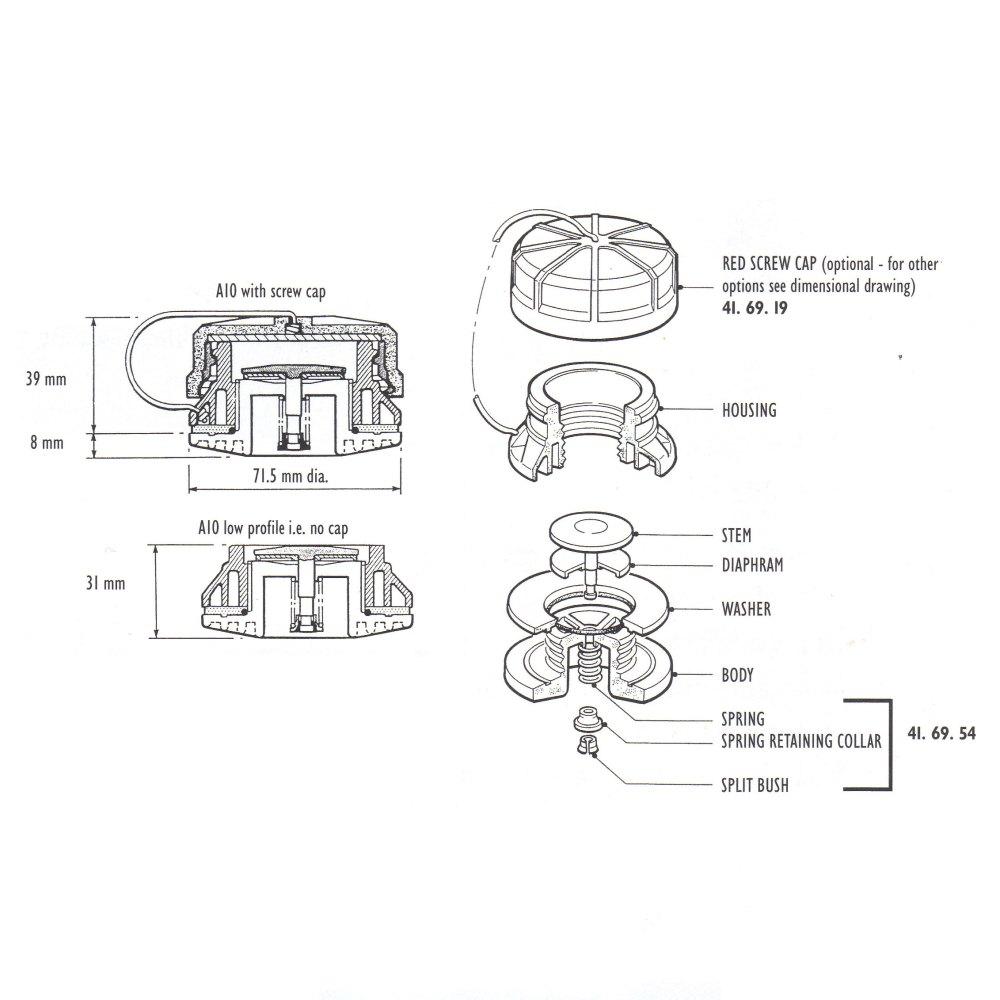 medium resolution of a10 valve spring collar and split bush specify colour