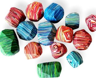 Alessia Bodini treats us to both facets and strips on her beads on PolymerClayDaily.com