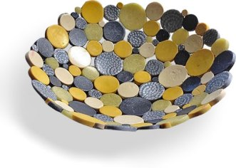 "Terri Powell was thinking ""molecules"" with this throwback bowl on PolymerClayDaily.com"