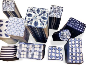 Soft, restful blue and white canes from Silvana Bates on PolymerClayDaily.com
