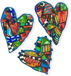 Carol Beal makes crazy quilt hearts for new neighbors on PolymerClayDaily.com