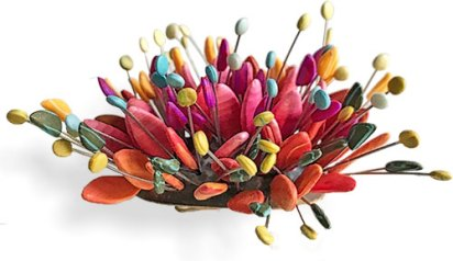 Bonnie Bishoff offers a spring bouquet at the ACC show in Baltimore on PolymerClayDaily.com