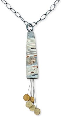 The tassel on Bonnie Bishoff's Birch pendant flutters on steel wire on PolymerClayDaily.com