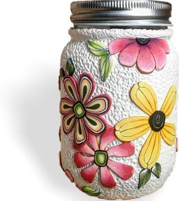 Pamela Carmen's big florals cover a jar in a hurry on PolymerClayDaily.com