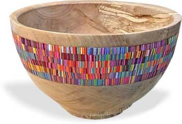 Cynthia Tinapple finds comfort in a bright striped inlaid bowl on PolymerClayDaily.com