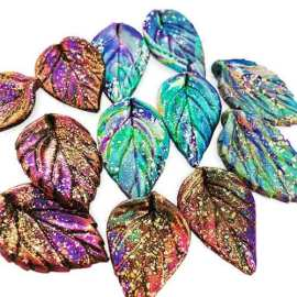 Tina Holden adds glitz to fall with metal leaf on PolymerClayDaily.com