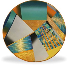 Debbie Kronsted uses blends, canes and metallics to make a 10-inch bowl on PolymerClayDaily.com