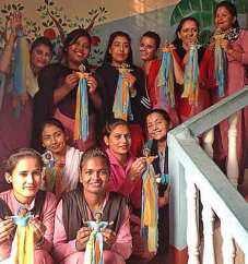 Angels in flowing sari silks from the ladies of Samunnat Nepal on PolymerClayDaily