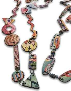 Linda Loew recombines her veneers into jaunty jewelry on PolymerClayDaily.com