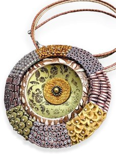 Tanya Mayorova meditatively covers pendants with slices on PolymerClayDaily.com