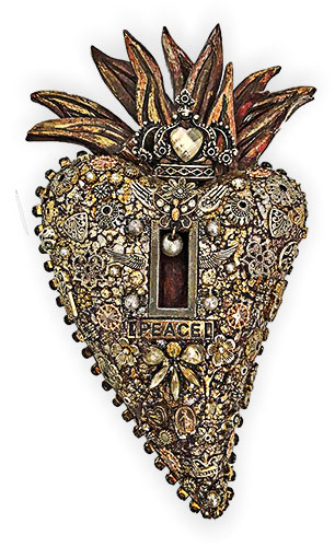 Laurie Mika's jewel-encrusted heart on PolymerClayDaily.com