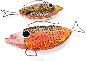 Sonya Girodon's multi-media fish swim on the wall on PolymerClayDaily