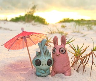Spayd's mixed media dust bunnies on PolymerClayDaily.com