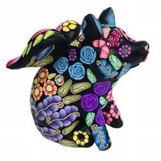 What is Alice Stroppel telling us with her flying pigs on PolymerClayDaily.com?