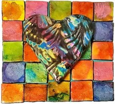 Susie Baim lets loose with an alcohol inks and mosaics tile on PolymerClayDaily.com