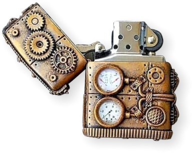 Galka Vasina transforms a lighter to a steampunk treasure on PolymerClayDaily.com