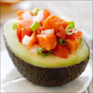 Delicious Lomi Lomi Salmon in an avocaddo from California Avocado