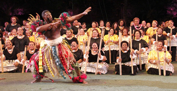 Tuesday, Sept.10, 201350th anniversary of Polynesian Cultural Center at Laie, Hawaii. Fiji dancers perform in Golden Alumni Show.