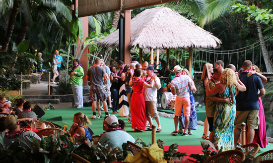 Guest enjoy a bit of romance while swaying to the sweet sounds of the Hawaiian Wedding Song
