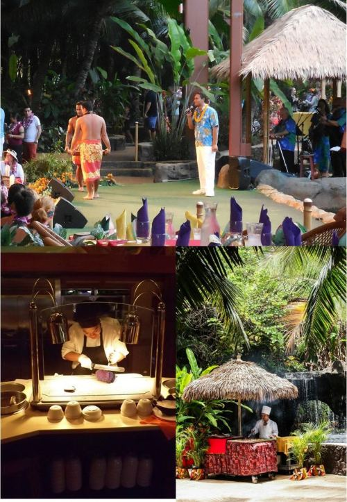 collage show The Polynesian Cultural Centers various levels of dining and entertainment