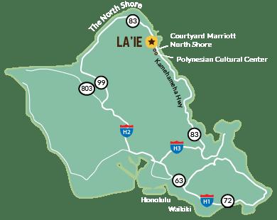 Map of Oahu highlighting Laie