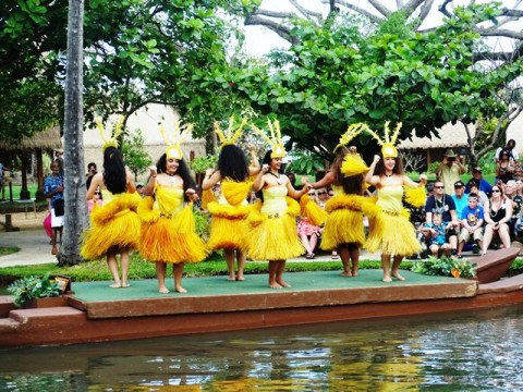 Picture of Tahitian dancers during the Canoe Pageant at the Polynesian Cultural Center