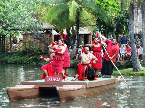 Picture of Tongan dancers at the Polynesian Cultural Center Canoe Pageant