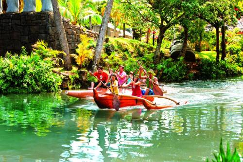 Picture of guests paddling a canoe at The Polynesian Cultural Center