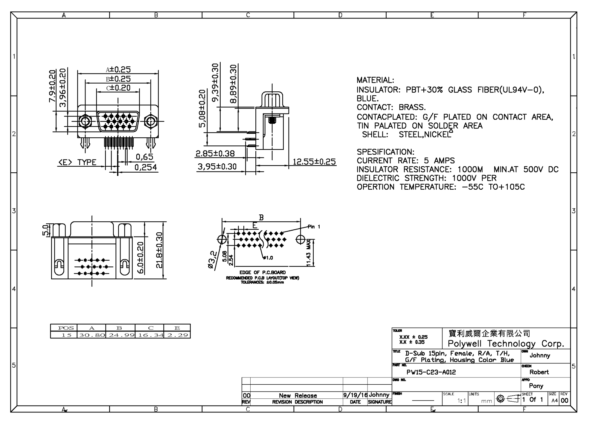 hight resolution of vga connector receptacle d sub 15pin