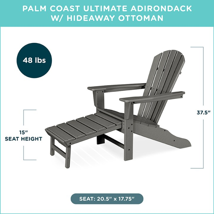 Palm Coast Ultimate Adirondack w/ Hideaway Ottoman