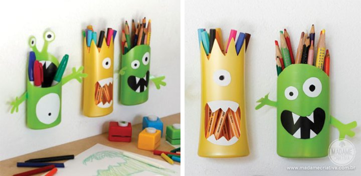 diy monster pencil organizer