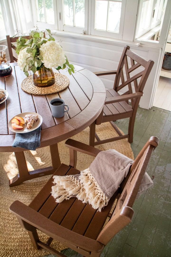 Chippendale 5-Piece Nautical Trestle Dining Arm Chair Set