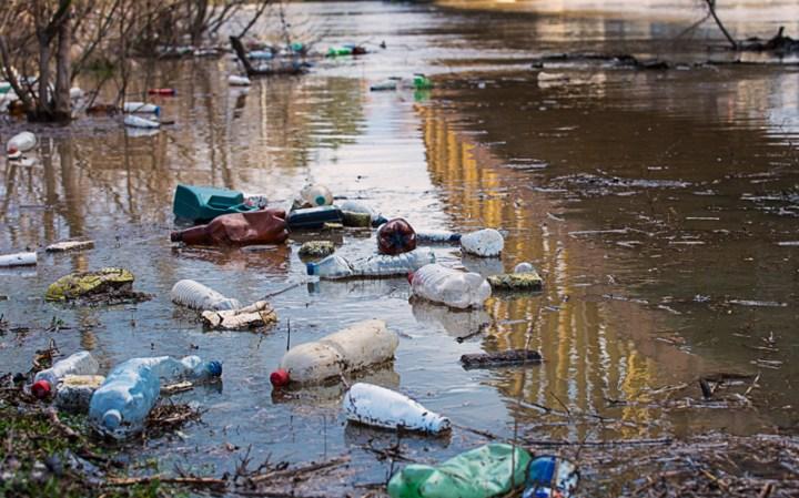 littered river