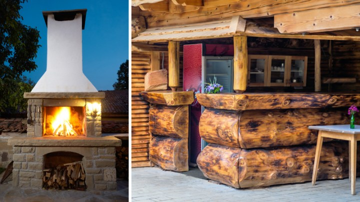 Outdoor fireplace and outdoor log cabin rustic bar