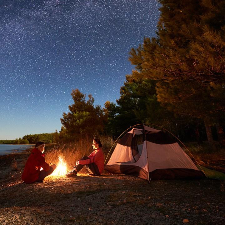 Night camping on shore