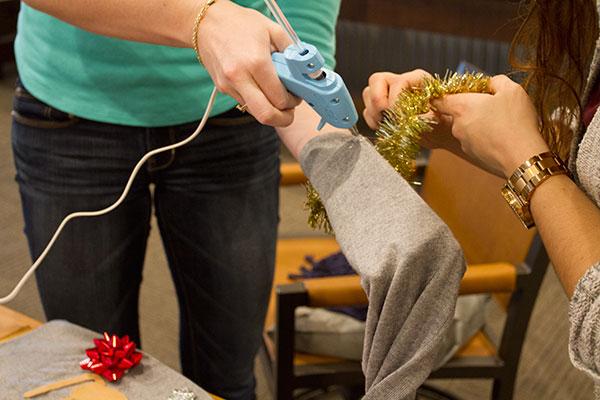 POLYWOOD DIY Ugly Christmas Sweater Hot Gluing