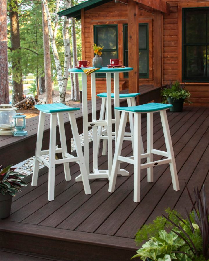 blue and white outdoor bar table with chairs