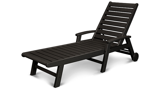 polywood black outdoor chaise lounge by pool