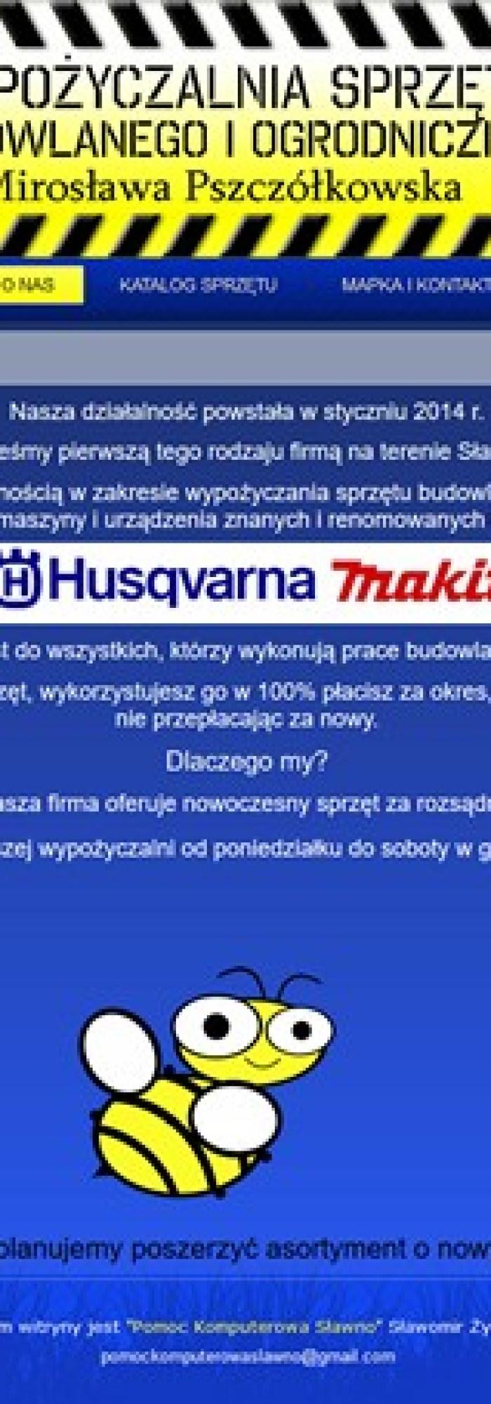 WYPOŻYCZALNIA SPRZĘTU BUDOWLANEGO I OGRODNICZEGO  Mirosława Pszczółkowska
