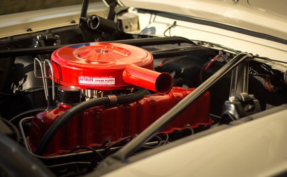 The Skyway Mustang's inline 6 cylinder engine.