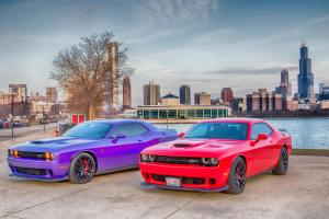 Dodge HellCat Against Chicago Skyline